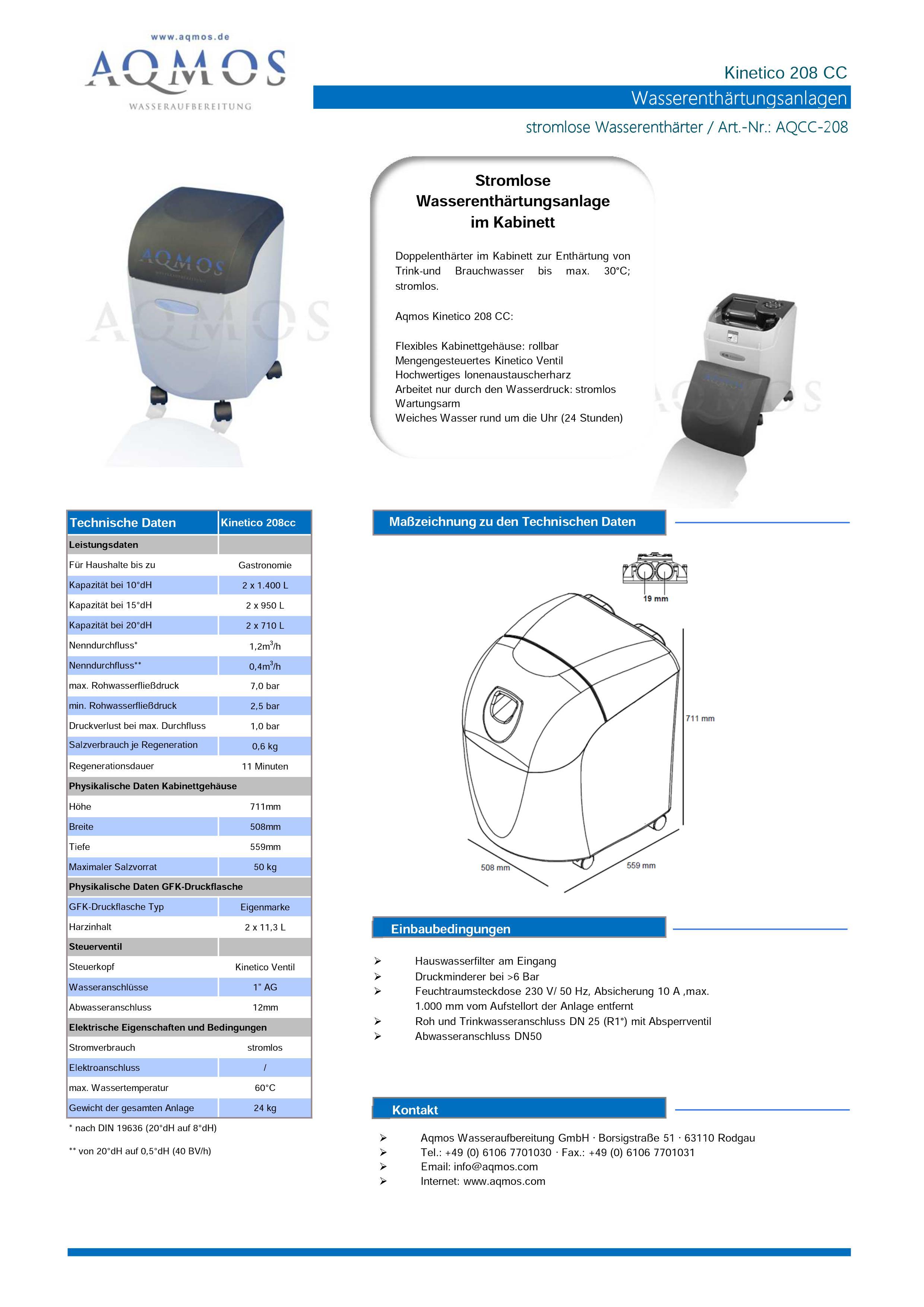 Kinetico-208-CC-Datenblatt